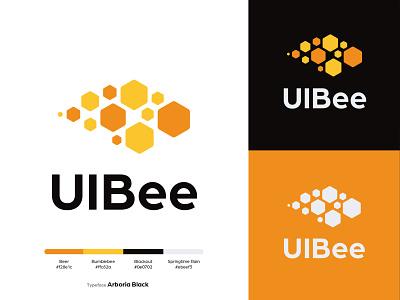 UIBee Logo Design free logo honey company branding logo illustration bee logo branding company logo logo design uibee logo