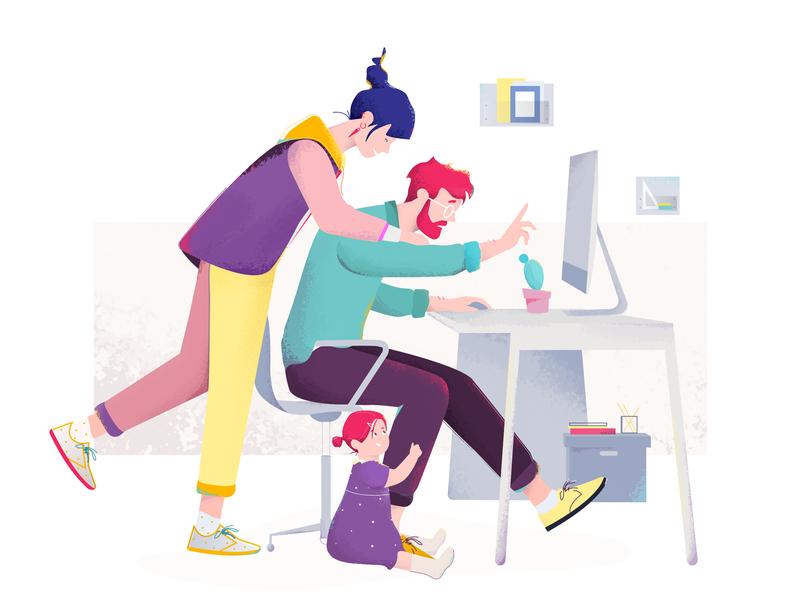 Sweet Trouble job babygirl family illustration