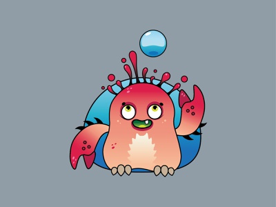 Little sea monster artwork vector illustration design logo branding