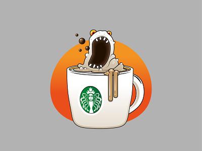 Coffee monster logo vector illustration artwork design branding
