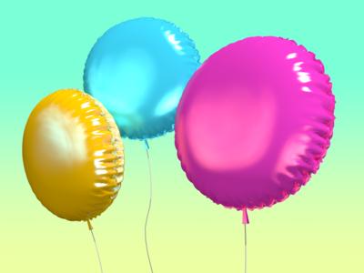 Mylar balloons illustration 3d