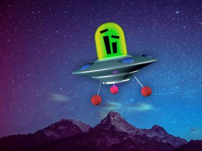 Flying Saucer photoshop design 3d illustration