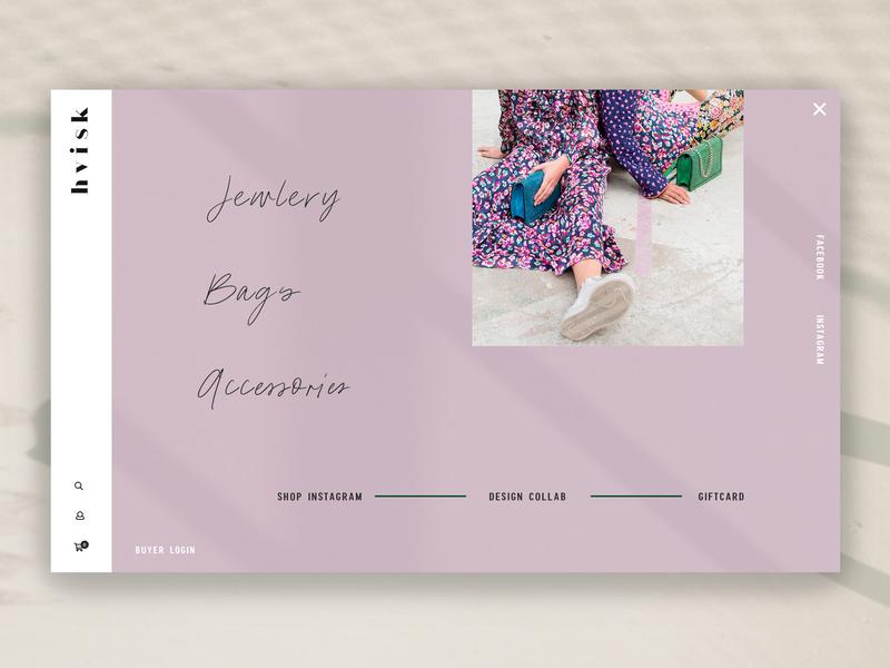Website #2 - Hvisk (Navigation) ui minimalism graphic design jewlery hvisk purple navigation website