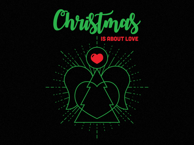 Christmas Is About Love clothing teespring t-shirt tee red green heart angel illustration love christmas