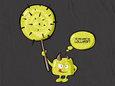 The Green Monster & The Cactus Lollypop green monster cactus lollypop print vector design t-shirt respiro media ai concept