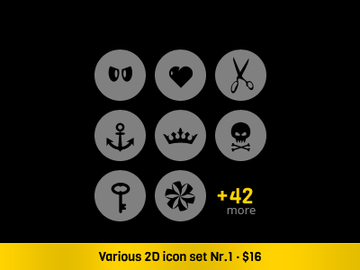 Various 2D Icon Set · 1 icons vector icons icon set onemanzoo respiro media