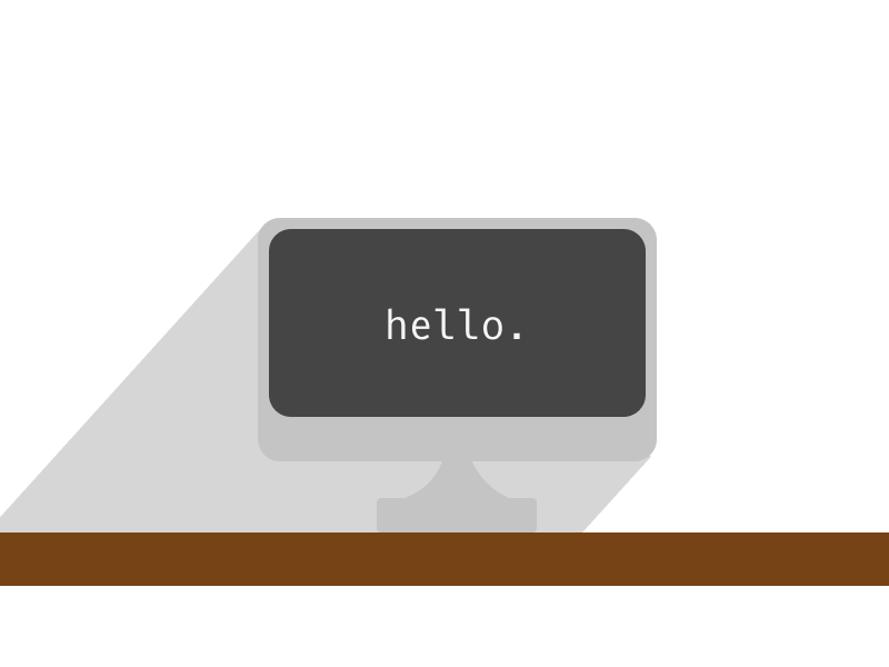 hello. flat computer svg