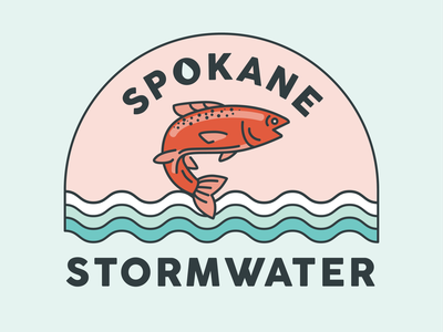 Stormwater Salmon logo design fish logo inland northwest pacific northwest pnw spokane water river conservation fish salmon badge illustrator logo icon vector flat branding illustration design