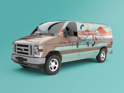 Water Wise Van 2 vehicle wrap vehicle graphics van wrap van life van illustrator icon logo flat vector branding illustration design