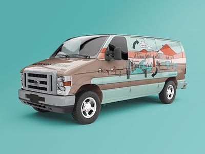 Water Wise Van 2 vehicle wrap vehicle graphics van wrap van life van illustrator icon logo flat vector branding illustration design