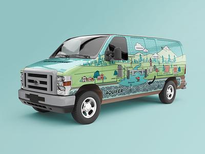 WaterWise Spokane Van Wrap (version 2) van van life van wrap vehicle graphics vehicle wrap graphic logo vector branding illustration design