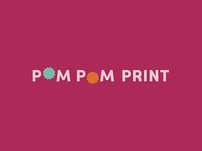 Pom Pom Print Wordmark logotype illustrator typography icon logo flat vector branding illustration design