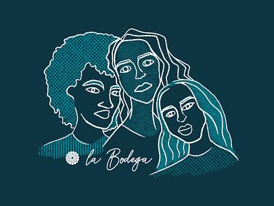 Blue Girls trio character diversity design branding procreate illustraion illustrator girl illustration girl merch design merch