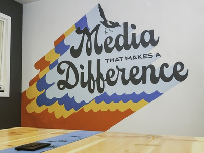 Rogue Heart Media - Office Mural groovy type typography mural design paint mural