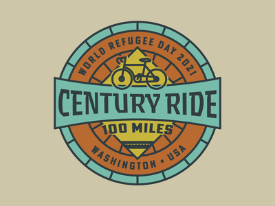 Century Ride T-Shirt Design badge illustrator typography icon logo flat vector branding illustration design