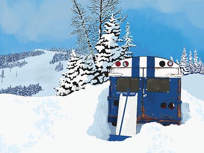 Mt Spokane Terrain Park Poster park snowboarding snowboard snow ski lift ski vintage bus rusty texture truegrittexturesupply procreate art procreateapp procreate digital painting illustrator illustration design