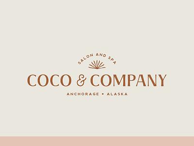 Coco & Company beauty hair spa salon alaska texture grit typography icon flat logo vector branding illustration design