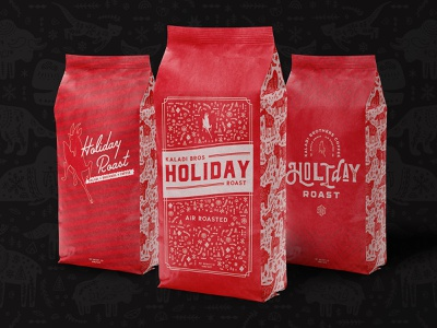 Kaladi Brothers Holiday Roast coffee bag coffee company coffee shop red goat goat red nordic christmas packaging coffee alaska arctic arctic animals scandinavian holiday typography vector branding illustration design