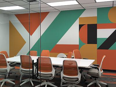 Yuit Comms Conference Room Mural graphic design interior design mural vinyl vector branding illustration design