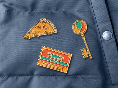 Yuit Comms Pins promotional retro throwback icon lines linework swag enamel pin pins alaska flat logo vector branding illustration design