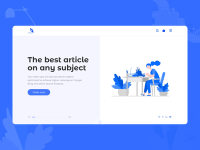 Copywriting website (Json file included) character lottie json blue motion logo ux ui after effects vector illustration aniamtion design copywriter