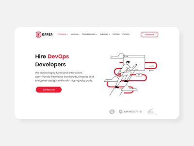 Animation for page Hire DevOps Developers man black red vector development stroke line design motion animation devops
