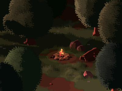 Campfire game development adventure rpg top down game video game forest woods camping campfire indie game unity 3d