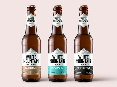 White Mountain Brewery white mountain graphic design labels branding logo bottles beer brewery design