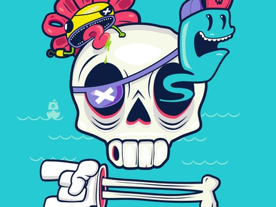 Pirate's Life Illustration and t-shirt design