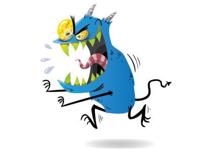 Blue monster halloween scary cartoon monster teeth tongue character design illustration vector