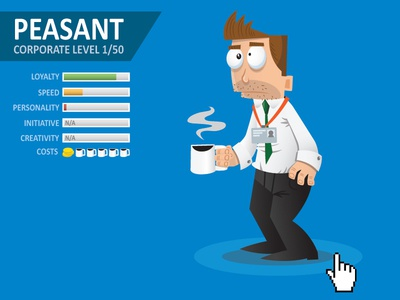 Peasant coffee corporate employee character illustration illustrator infographic vector