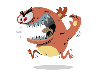 Brown monster halloween fangs teeth scary run character design no outline clean vector monster