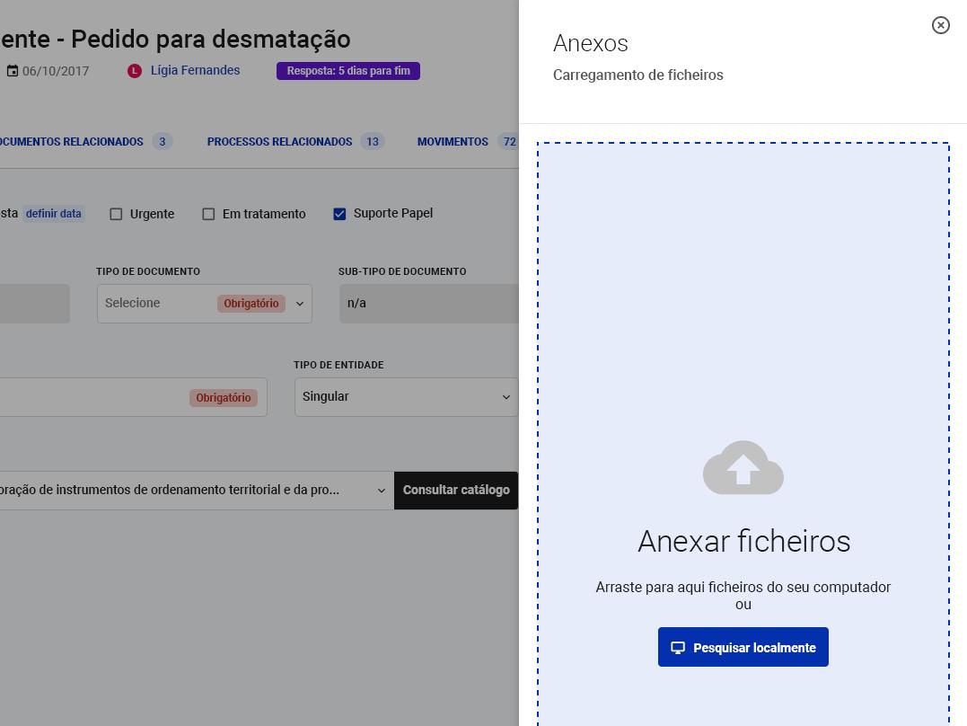 Permite anexar ficheiros a um documento interace files upload app