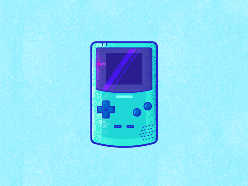 Gameboy Color grain texture grain retro player play nintendo gameboy game illustration vector icon design