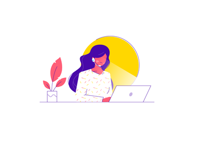 Support character work laptop business office plant flat customer support customer service service support women girl people graphic illustration vector design