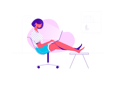 Creating Girl work office fashion creative chair sitting flat laptop people write women female girl character illustration vector design