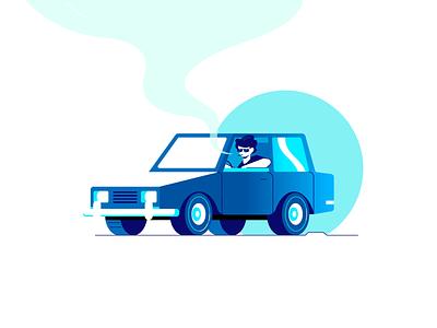 Travel male man boy sunglasses flat character smoke sunset travel trip driver drive people vehicle car illustration vector design