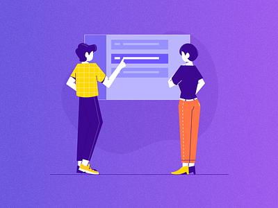 Discuss flat women man character discuss office work people illustration vector design