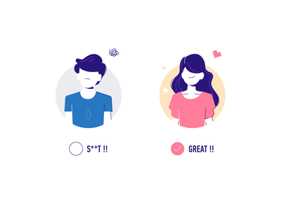 Feedback complaint comment hate like boy girl flat people character feedback product comic ui illustration vector icon design
