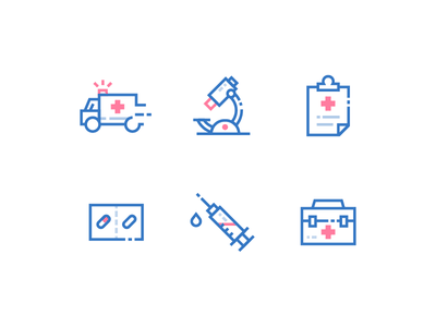 Medical Icons linear hospital red cross medical record inject pill capsule microscope ambulance medicine medical iconset icons ux ui vector icon design