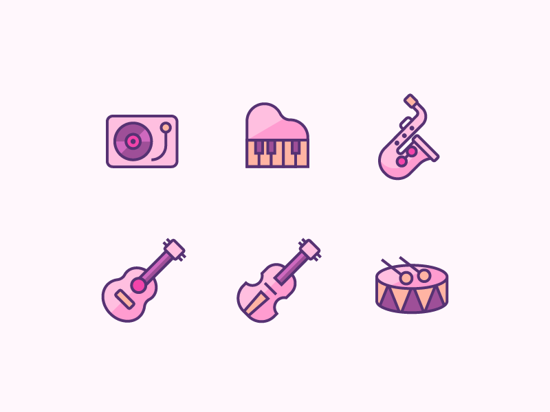 Instrument Icons creative inspiration linear outline sakas saccas drum violin guitar piano vinyl cd music icons iconset logo vector icon design instrument