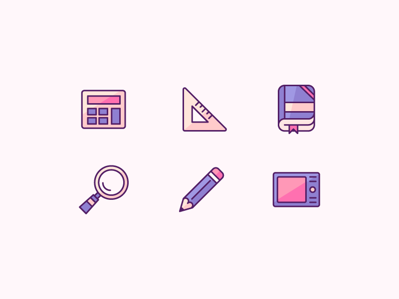 Stationery Icons magnifier tablet wacom triangular ruler ruler school study reading book pencil pen calculator stationery design staionery ux ui vector icon design