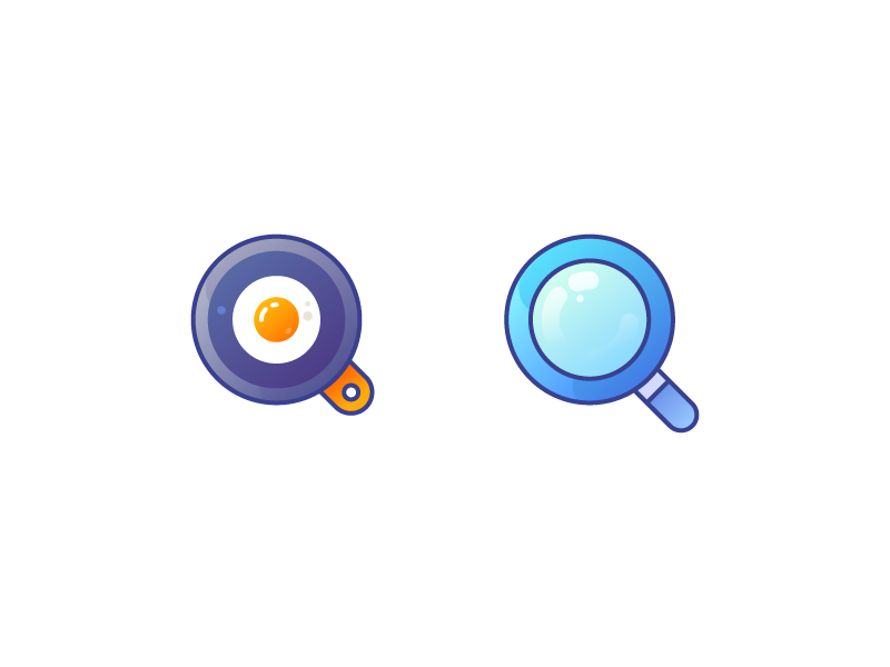 Q Icon fry magnifier letter q pan egg food logo ui illustration vector icon design