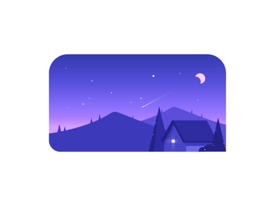night star comet home house hill moon night illustration vector icon design