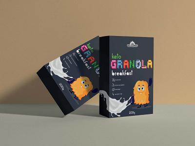 Keto Granola Packaging Design graphic design visual identity label design branding  packaging food company branding keto food healthy food packaging branding illustration package design logo package product label brand design