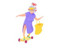 Skateboarding granny