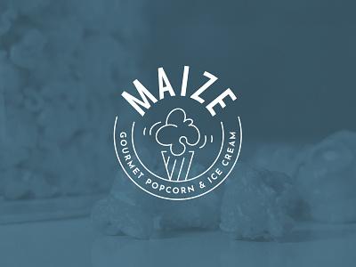 Maize Gourmet Popcorn & Ice Cream gourmet food badge ice cream popcorn maize identity design identity branding logo design logo