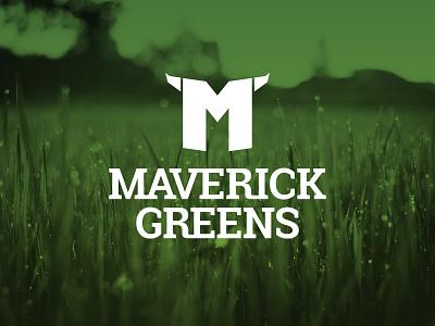 Maverick Greens Underground Sprinkler Specialists horns lawn care grass lawn greens maverick monogram m identity design identity branding logo design logo