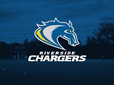 Riverside Chargers athletics bronco horse sports bolt lightning chargers charger riverside identity design identity branding logo design logo