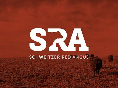 Schweitzer Red Angus farming farm agriculture cattle negative space silhouette angus monogram sra identity design identity branding logo design logo